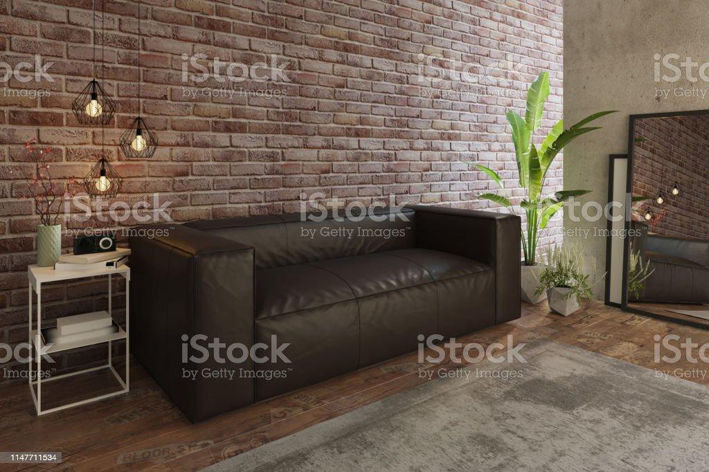 Gemütliches Wohnzimmer Mit Sofa Und Ziegelwand Stockfoto und ...