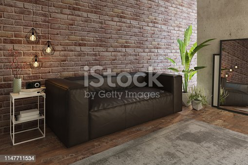 1095381860istockphoto Cozy living room with sofa and brick wall 1147711534