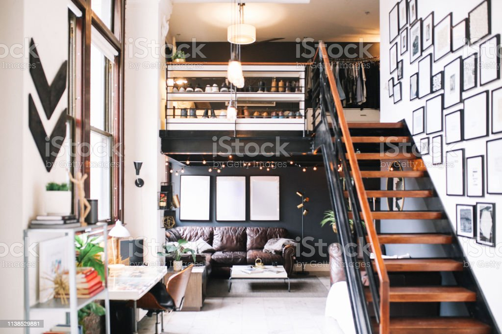 Cozy Loft Apartment Interior In Downtown Los Angeles Stock ...