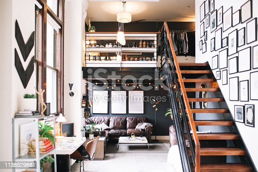 Interior of a large and bright loft apartment in Downtown Los Angeles, California.