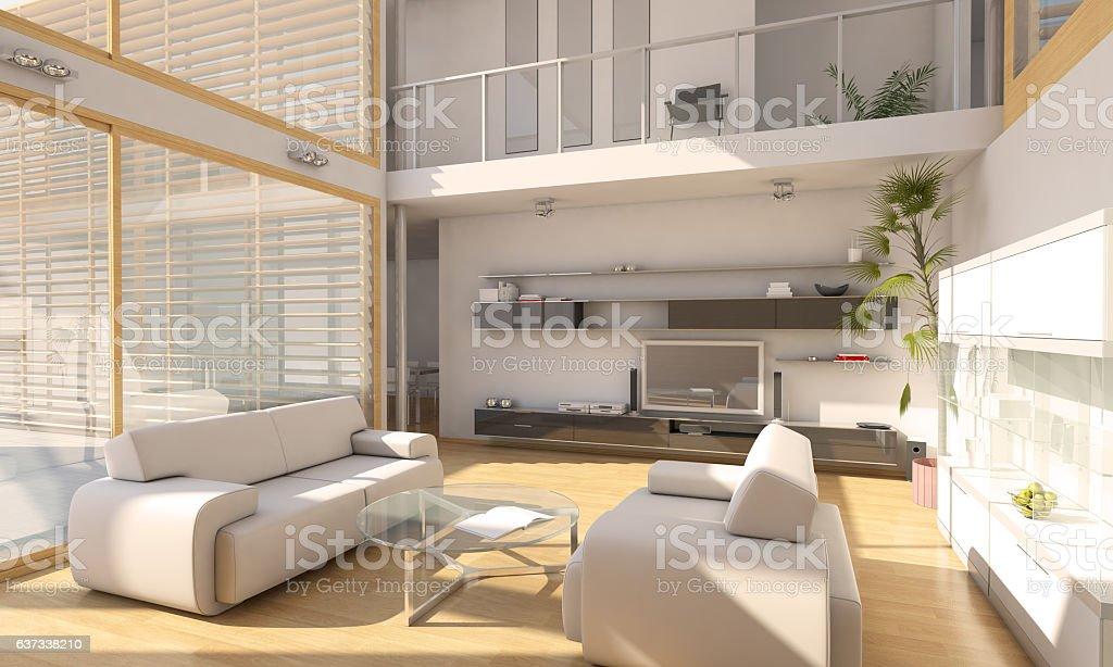 Cozy Loft Apartment Interior Scene - foto de acervo