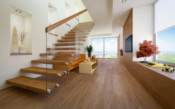 cozy loft apartment - staircase stock photos and pictures