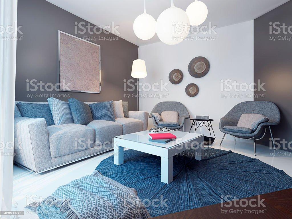 Cozy lounge room minimalist style stock photo