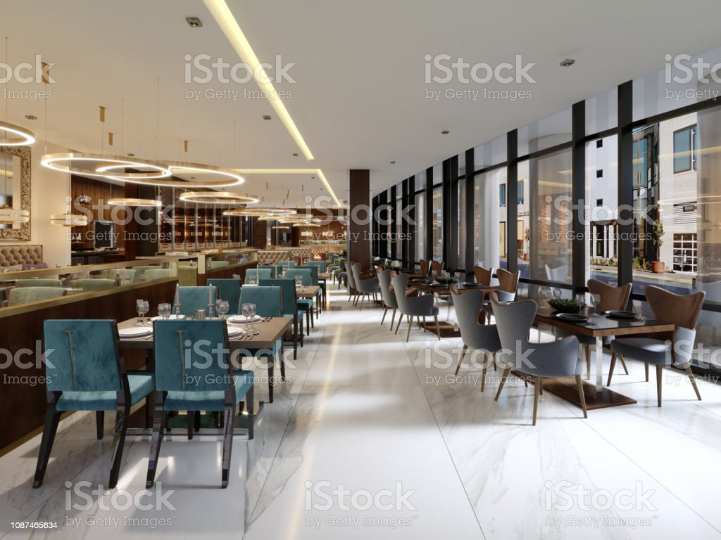 Cozy Luxury Interior Of Restaurant Comfortable Modern Dining Place Contemporary Design Background Stock Photo Download Image Now Istock