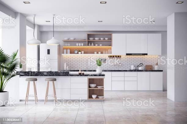 Cozy modern kitchen white room interior 3drender picture id1136936441?b=1&k=6&m=1136936441&s=612x612&h=i32rewur8vboynm0dzhxd wnx 8fnz1upe fna1 mca=