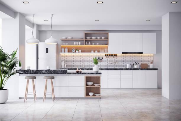 아늑한 현대적인 주방 화이트 룸 인테리어. 3drender - 모던 양식 뉴스 사진 이미지