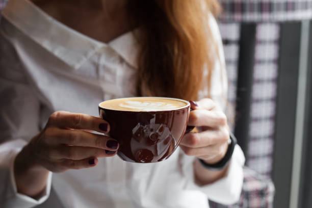 Cozy morning with a cup of coffee stock photo