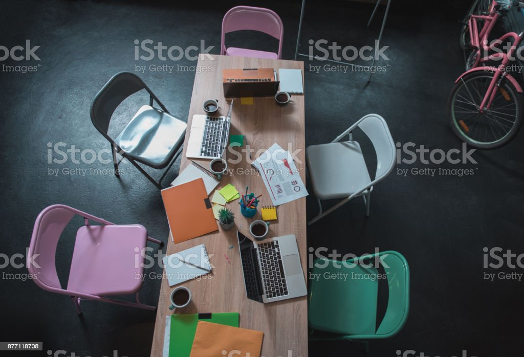 Cozy office of young creative team stock photo