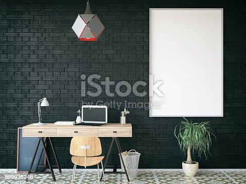 840777964istockphoto Cozy Office with Empty Frame 899938246