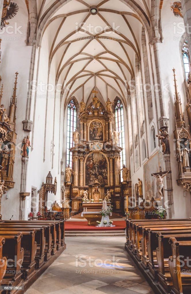 Cozy old Catholic Church in Czech Republic stock photo