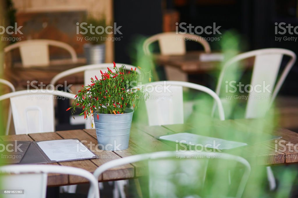 Cozy outdoor cafe in Rome, Italy stock photo