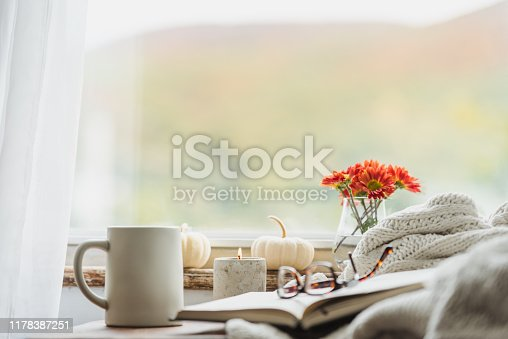 A nice warm looking reading nook in the fall that conveys the idea of being comfortable at home in autumn with a cup of coffee or tea and reading a good book.