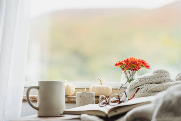 A cozy reading nook in the fall with a blanket and coffee stock photo