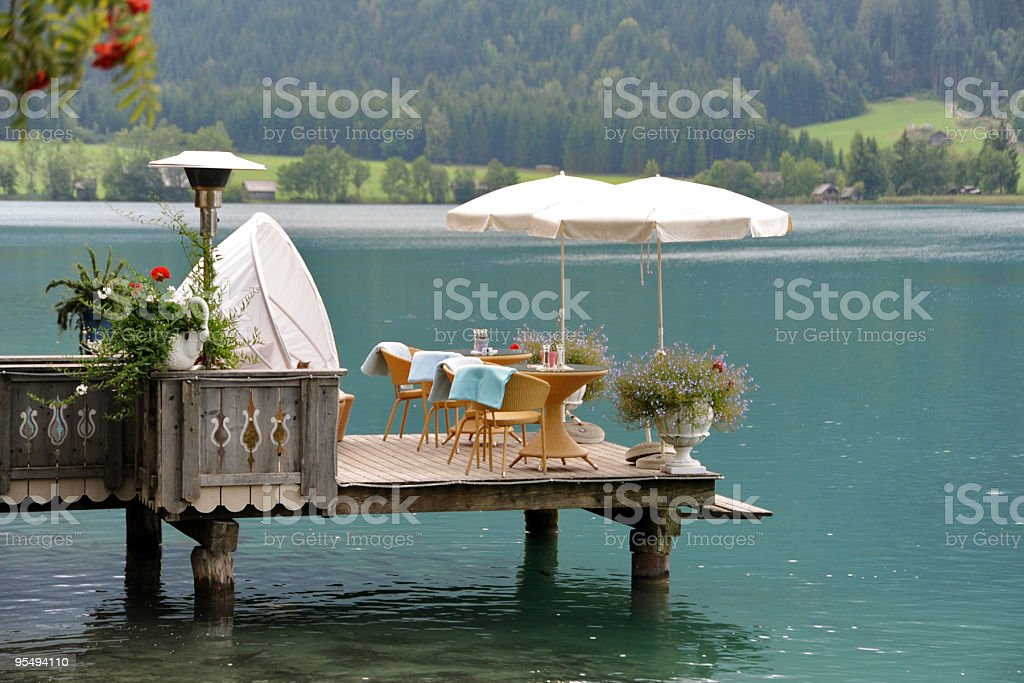 cozy restaurant at the water royalty-free stock photo
