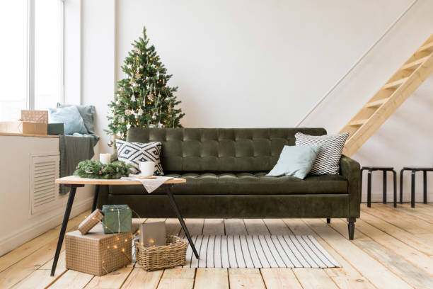 Cozy room decorated for Christmas stock photo