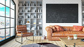 istock Cozy Room with Library with Leather Sofa Empty Black Frame 1241738998
