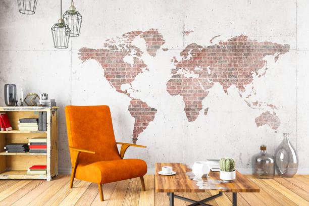 world map wall stock photos