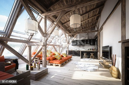 Digitally generated cozy Scandinavian attic interior scene with high quality euro pallet furniture.