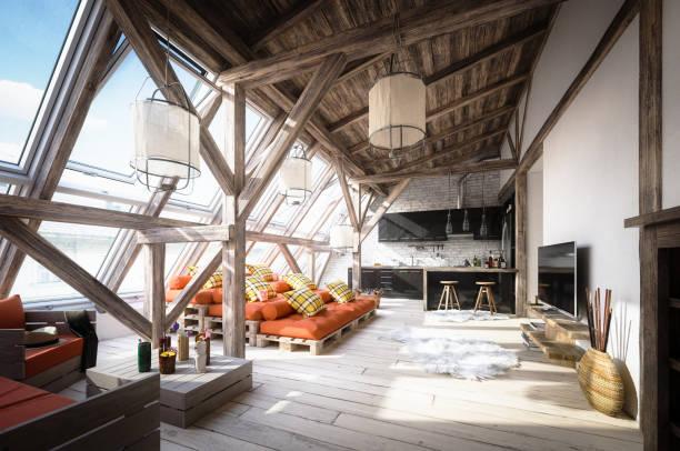 Scène intérieure confortable Loft attique scandinave - Photo