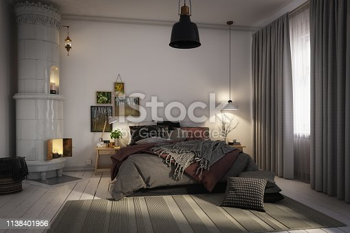 Digitally generated warm and cozy Scandinavian style bedroom interior.  The scene was rendered with photorealistic shaders and lighting in Autodesk® 3ds Max 2016 with V-Ray 3.6 with some post-production added.