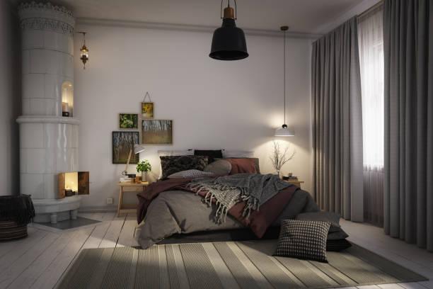Cozy Scandinavian Bedroom stock photo
