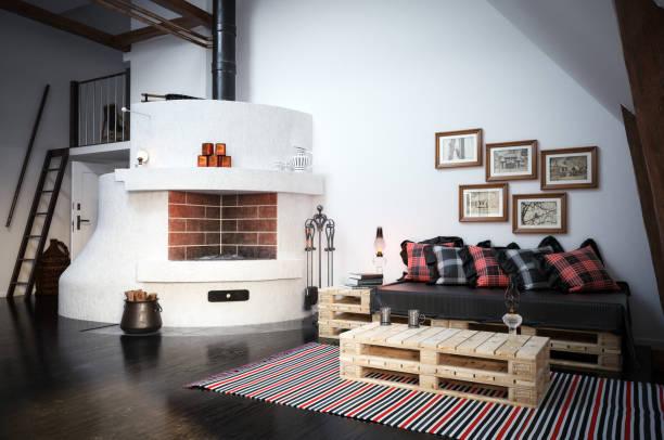 Cozy Scandinavian Interior Scene stock photo