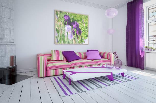 gemütlichen skandinavischen wohnzimmer - hellrosa zimmer stock-fotos und bilder