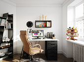 Digitally generated Scandinavian home office interior design.  The scene was rendered with photorealistic shaders and lighting in Autodesk® 3ds Max 2016 with V-Ray 3.6 with some post-production added.