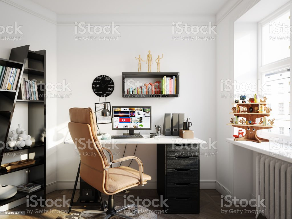 Cozy Scandinavian Style Home Office stock photo