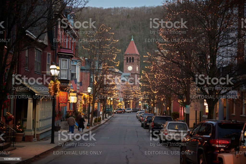 Cozy shop in the Christmas town 'Jim Thorpe' stock photo