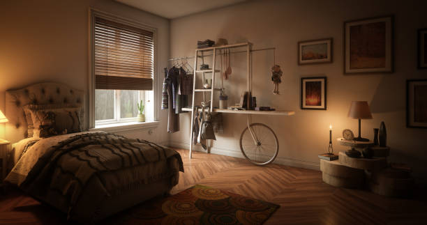Cozy Single Bedroom stock photo