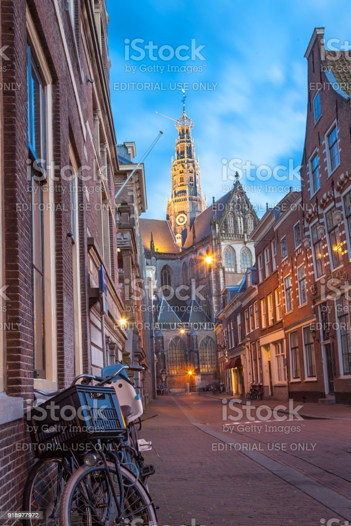 Cozy square in Haarlem stock photo