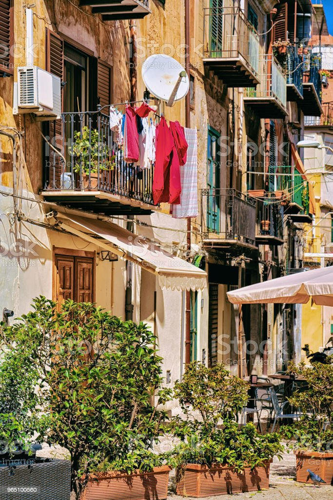 Cozy street in Monreale town Sicily Italy Europe royalty-free stock photo