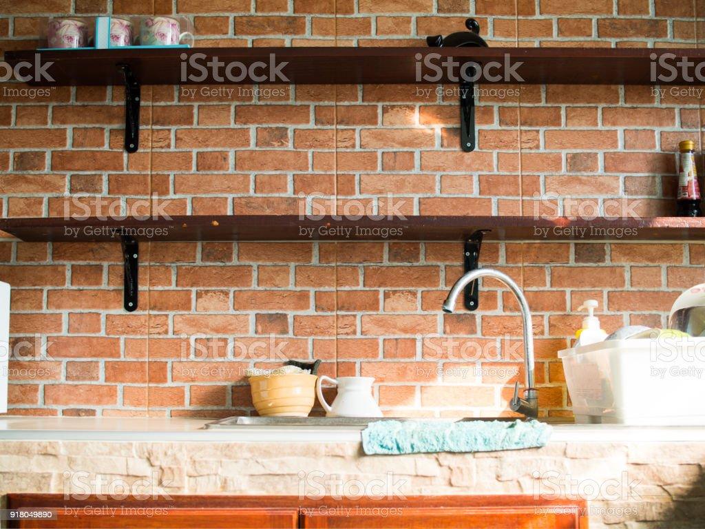 Papier Peint Brique Cuisine photo libre de droit de cuisine de style cosy sont ornés de