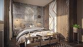 Cozy sunny bedroom render