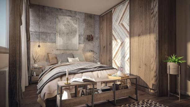 gemütliches sonniges schlafzimmer rendern - zeitschrift wandkunst stock-fotos und bilder