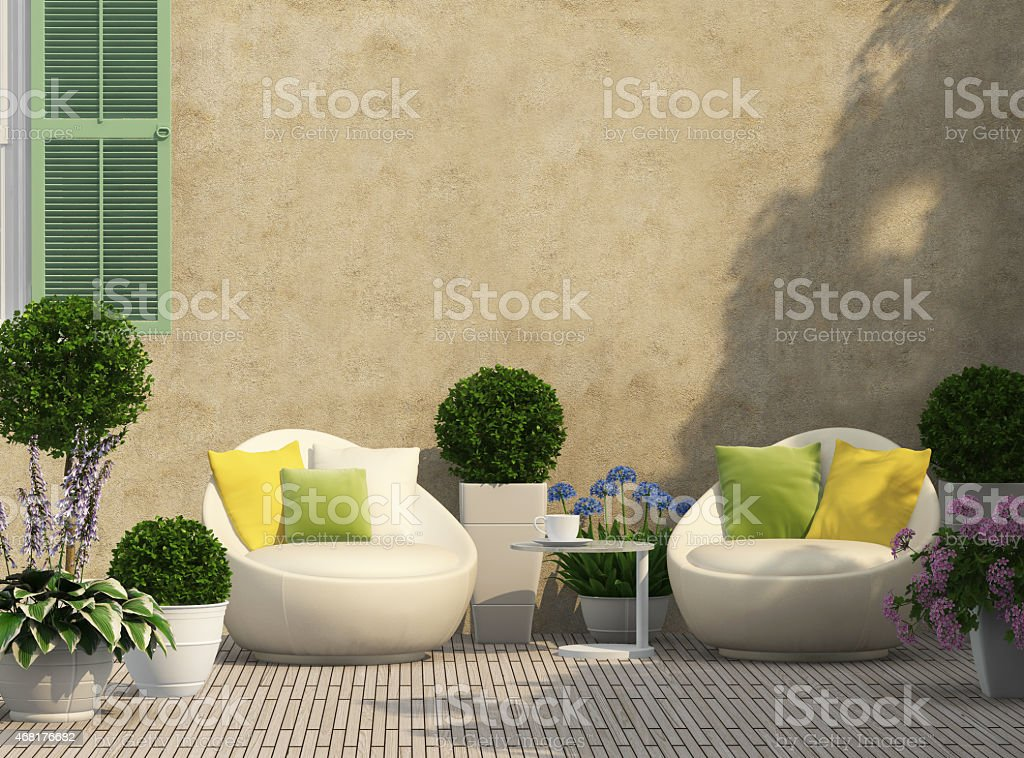 Cozy terrace in the garden stock photo