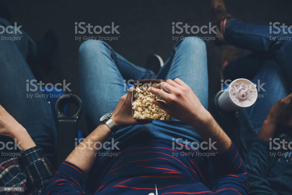 Cozy time at the cinema stock photo
