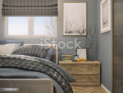 Picture of a cozy tiny bedroom. Render image.