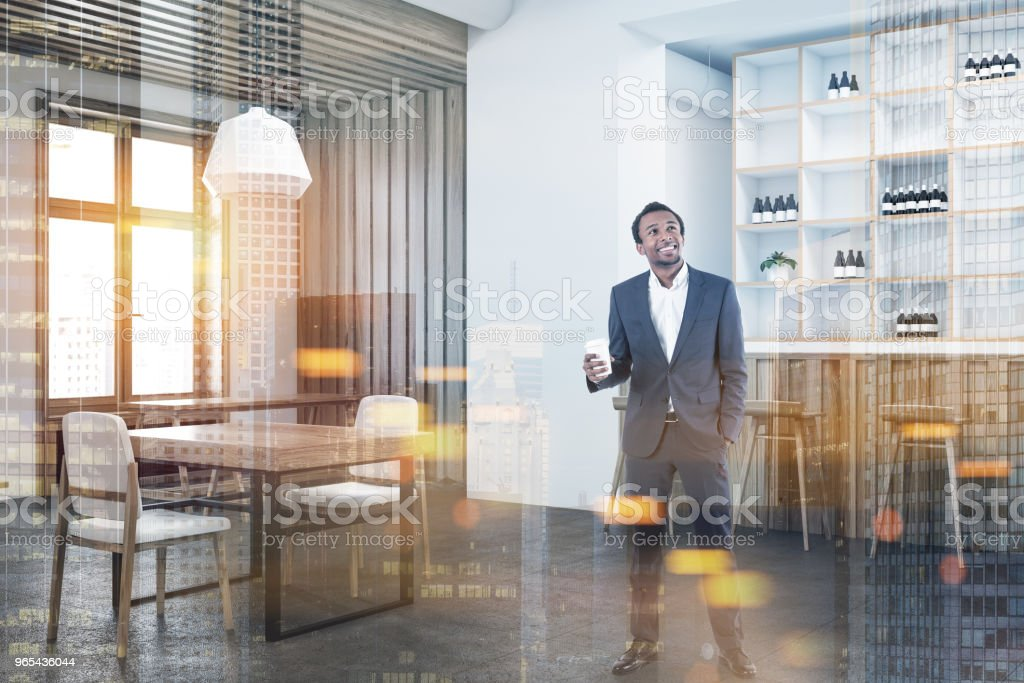 Cozy white and wooden wall bar corner toned royalty-free stock photo
