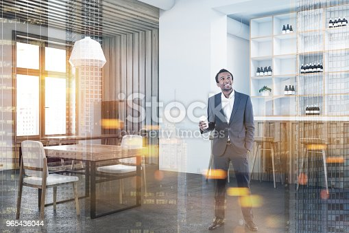 Cozy White And Wooden Wall Bar Corner Toned Stock Photo & More Pictures of Adult