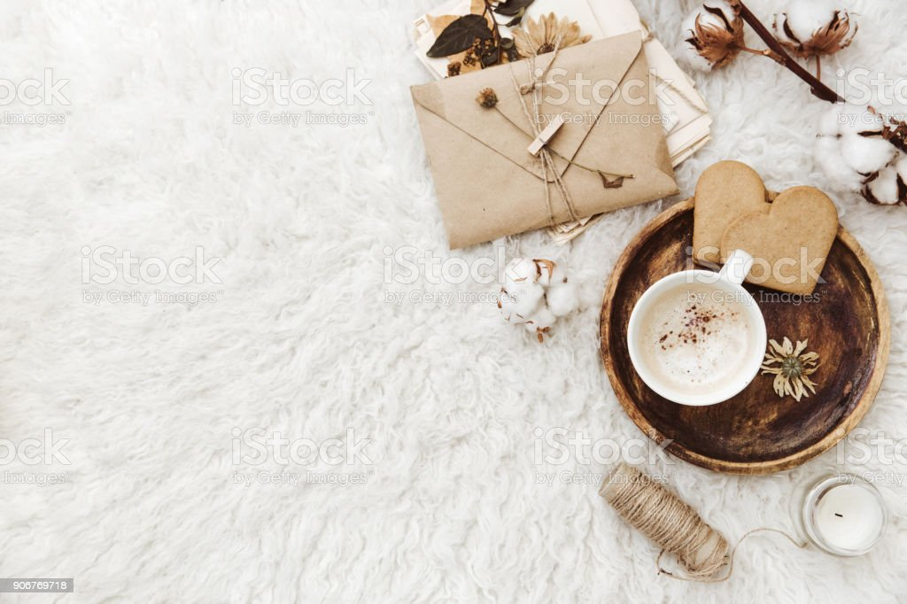 e3cbf71bad Cozy Winter Flat Lay Background Cup Of Coffee Old Vintage Paper On ...