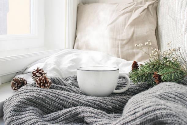 mysig vintermorgon frukost säng stilleben scen. ångande kopp hett kaffe, te stående nära fönstret. jul-konceptet. kuddar, kottar och fir trädgren på ull pläd. - cozy at christmas bildbanksfoton och bilder