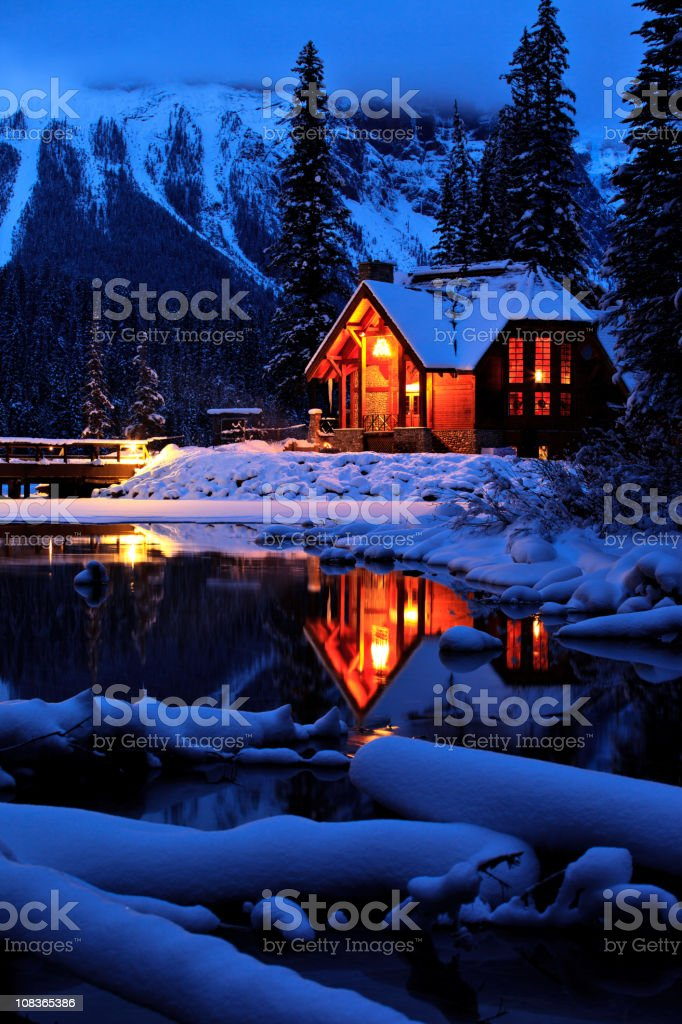 Cozy Winter Mountain Lodge stock photo