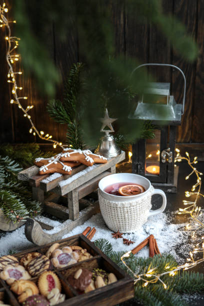 Cozy Winter Mulled Wine with Christmas Cookies stock photo