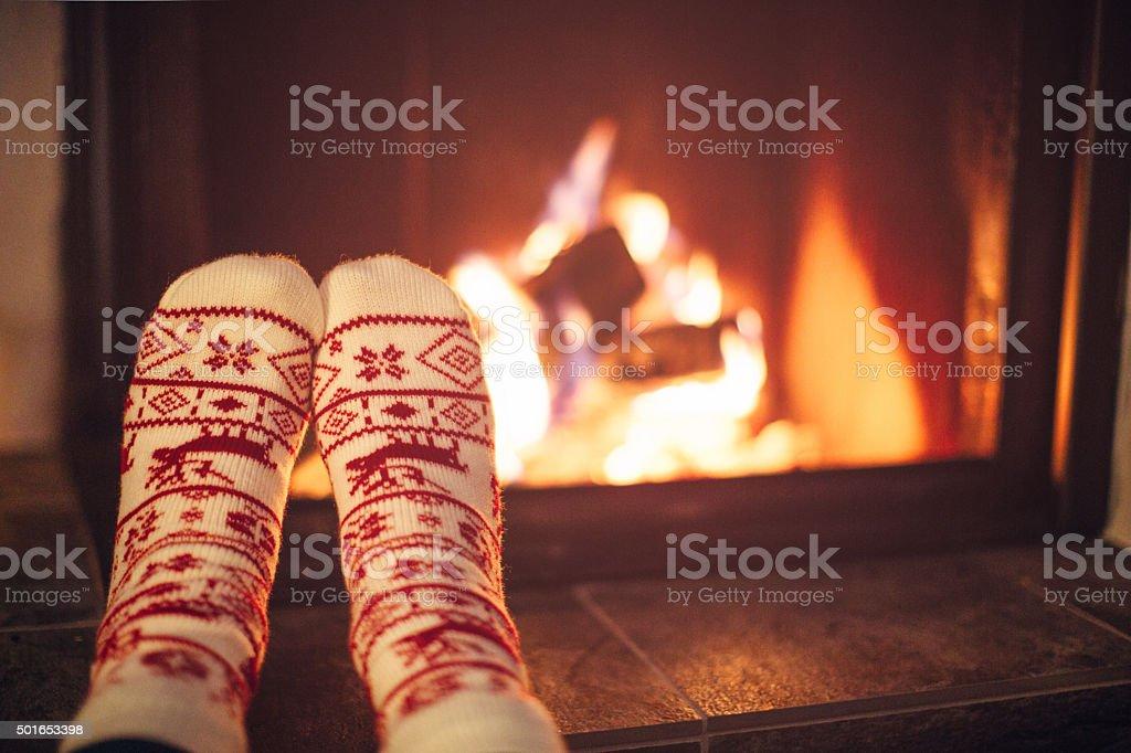 Cozy winter night. - Royalty-free Begrippen Stockfoto