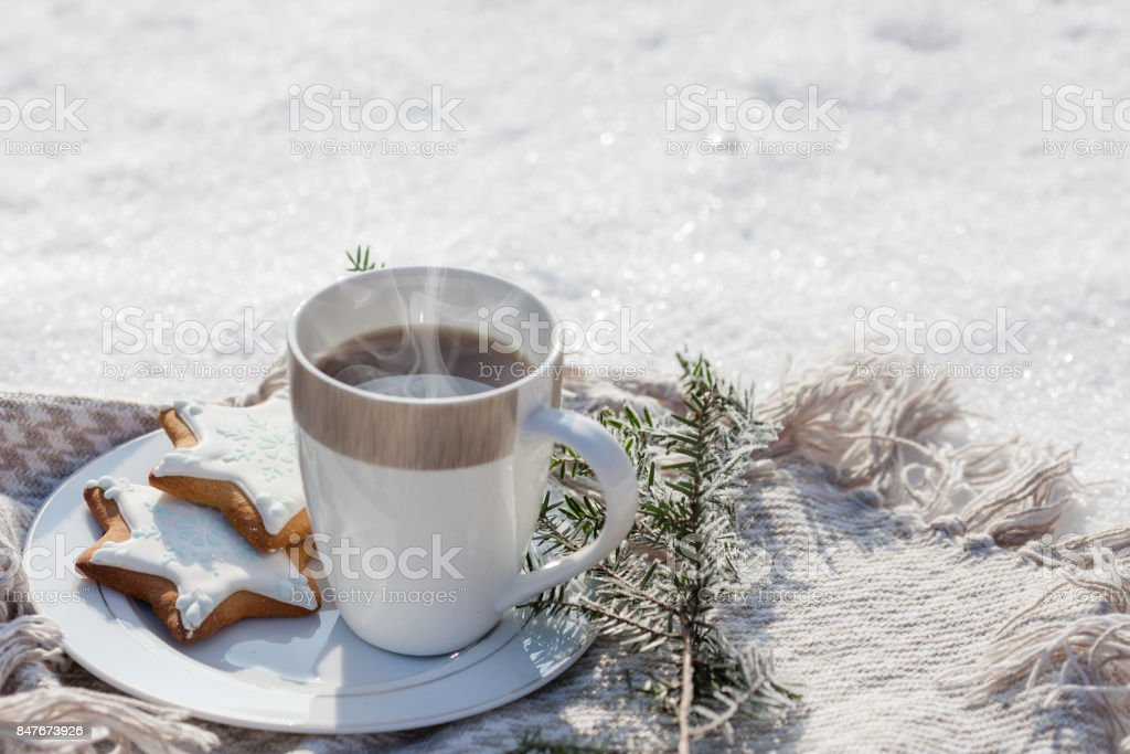 Cozy winter relax: a cup of hot coffee, a blanket and gingerbread overlooking the snowy countryside. stock photo
