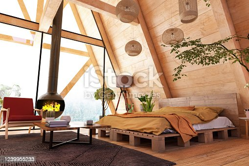 Cozy Wooden Bedroom with Fireplace and Forest View. 3d Render