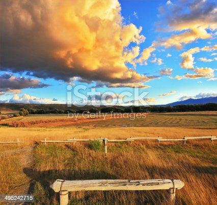 istock Cozy wooden bench 495242715