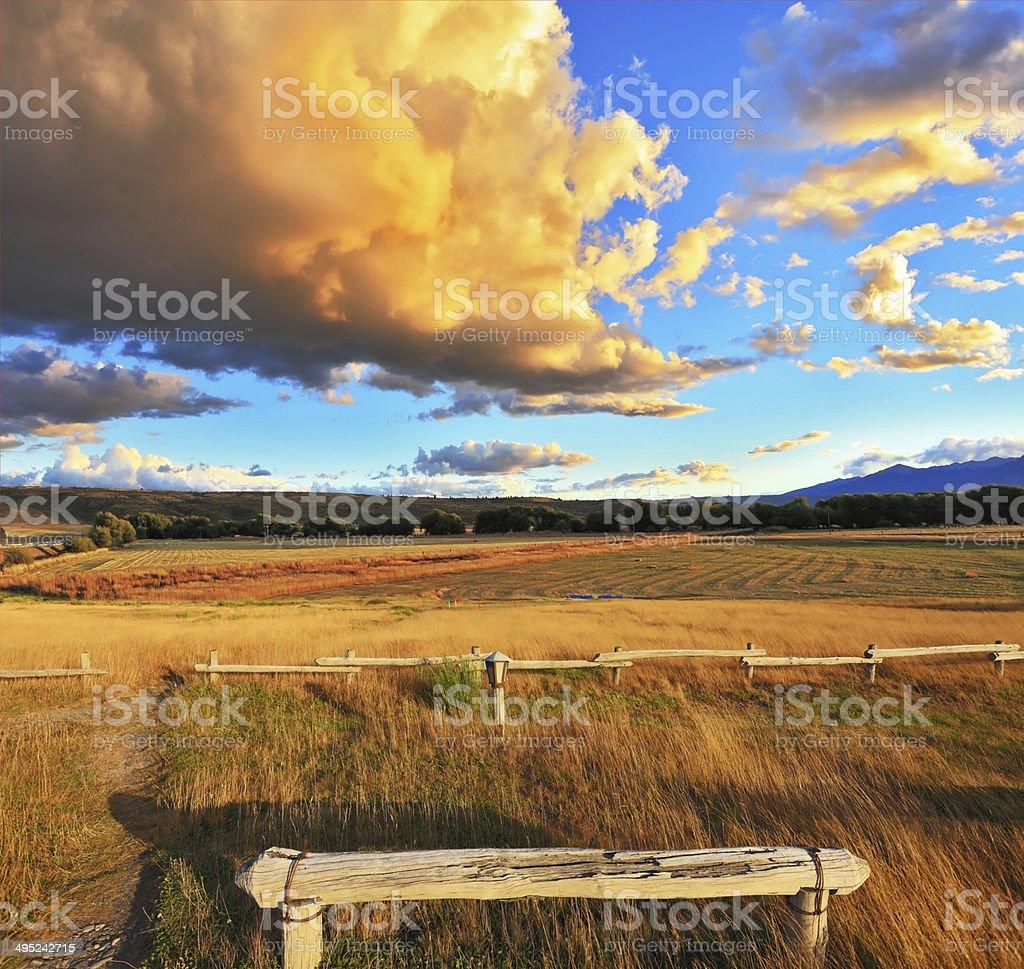 Cozy wooden bench stock photo